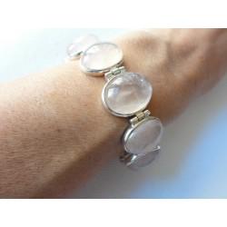 Beau bracelet en argent massif avec 9 pierres cabochons en quartz rose