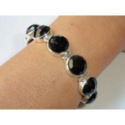 Bracelet massif argent avec 10 pierres rondes et facettées en onyx noir