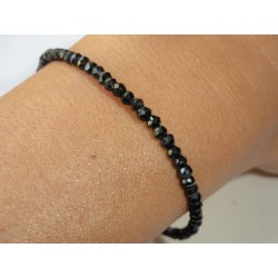 Bracelet en spinelle noire fermoir argent