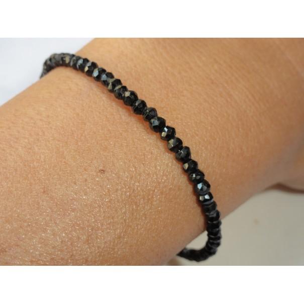 Bracelet 2 rangs en spinelle noire fermoir argent