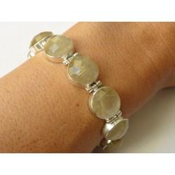 Bracelet en argent massif avec 10 pierres rondes en quartz rutile facetté