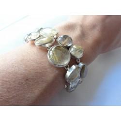 Gros bracelet double rang argent avec 19 pierres en quartz rutilé