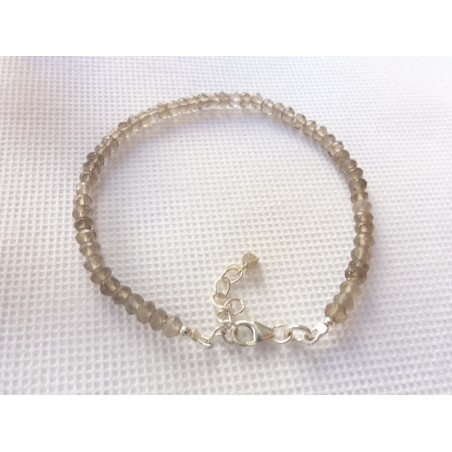 Bracelet fin double rang en quartz rose