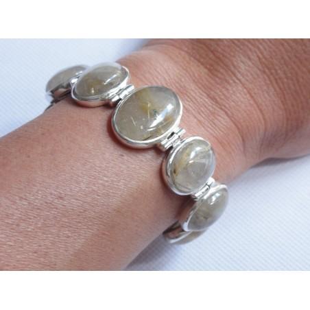 Gros bracelet argent massif avec 8 cabochons de quartz rutile