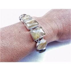 Bracelet en argent et 10 pierres de quartz rutile