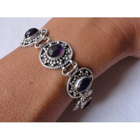 Bracelet ethnique argent ciselé avec 6 pierres en améthyste