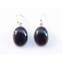 Boucles d'oreilles ovales en onyx noir et argent