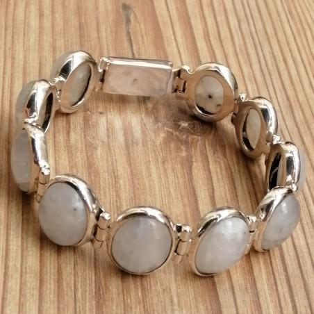 Bracelet massif argent avec 10 cabochons en pierre de lune irisée