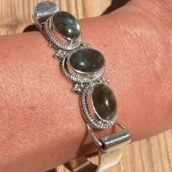 Bracelet jonc argent avec 3 pierres en labradorite