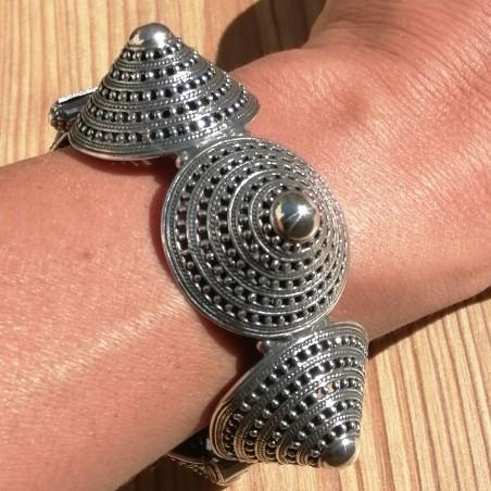 Gros bracelet articulé 6 cônes argent ethnique
