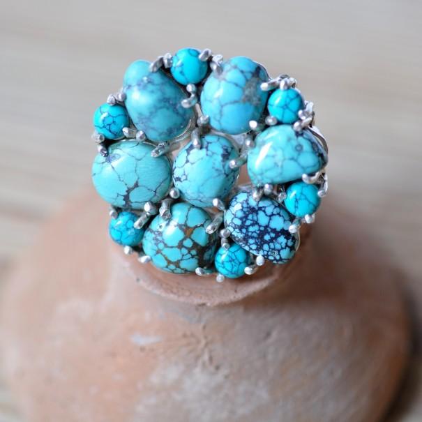 Grosse bague argent fleur 13 pierres en turquoise TIbet T59