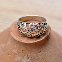 Bague anneau bombée ajourée arabesques en argent T60