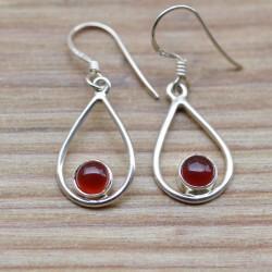 Petites boucles pendantes argent et petite pierre ronde en cornaline orange