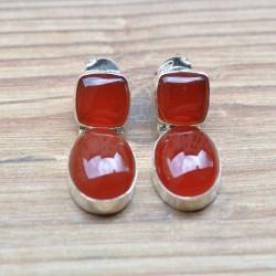 Boucles d'oreilles clous 2 pierres en cornaline serties d'argent