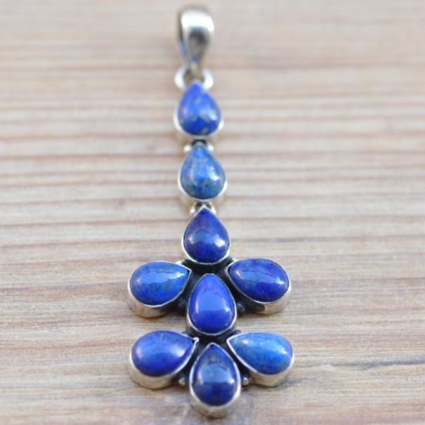 Long pendentif argent 9 pierres en lapis lazuli