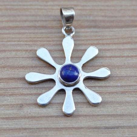 Pendentif fleur minimaliste en argent et lapis lazuli