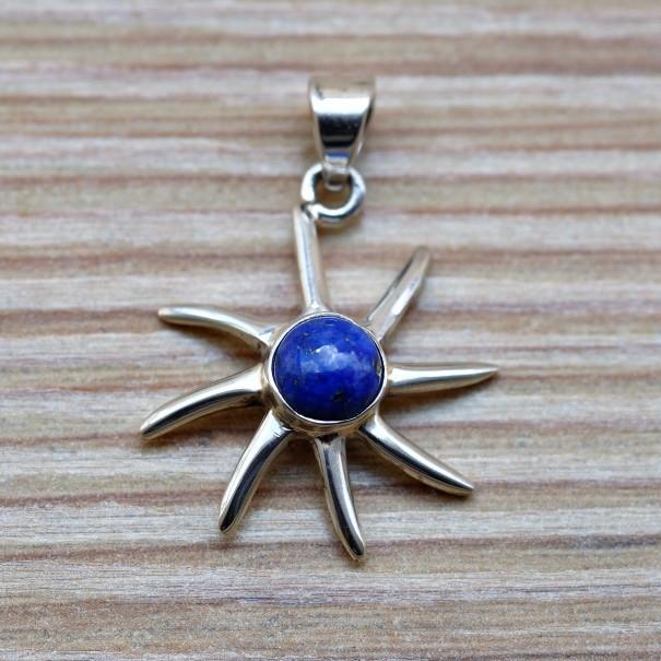 Pendentif soleil argent et pierre lapis lazuli