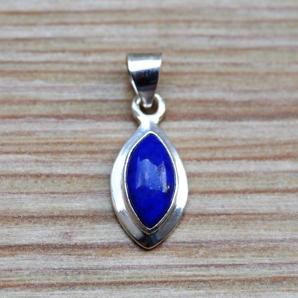 Pendentif pierre en lapis lazuli forme navette sur argent