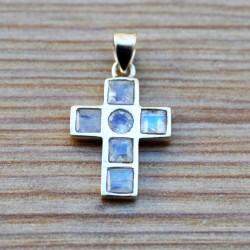Pendentif forme croix argent avec 6 pierres de lune arc-en-ciel