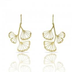 Boucles d'oreilles dorées 3 feuilles de ginkgo marque RAS