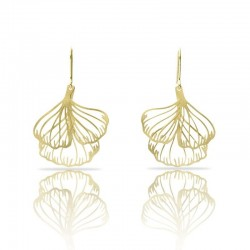 Boucles d'oreilles dorées RAS longues spirales