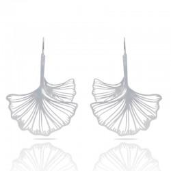 Boucles d'oreilles RAS argentées  grandes ginkgo