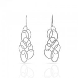Boucles d'oreilles RAS argentées anneaux entrelacés