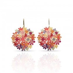 Boucles d'oreilles dorées RAS bouquet orange