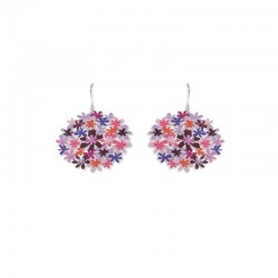 Boucles d'oreilles RAS argentées bouquet de fleurs violet