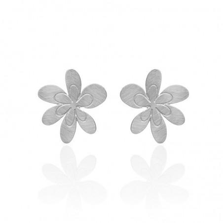 Boucles d'oreilles clous fleurs argentées RAS