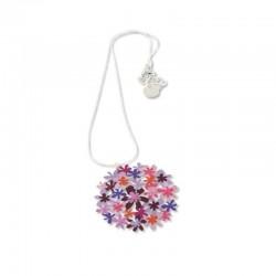 Collier argenté court bouquet de fleurs violet RAS
