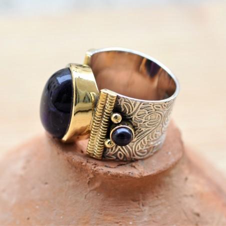Bague anneau large pierres ovale cabochon en améthyste