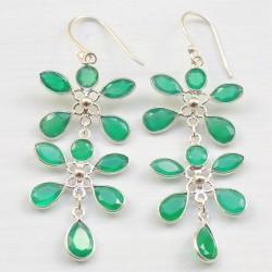 Boucles pendantes argent et 11 pierres fleurs en agate verte facettée