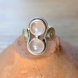 bague 2 pierres rondes spirales argent