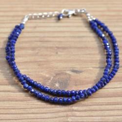 bracelet double rang pierres en lapis lazuli