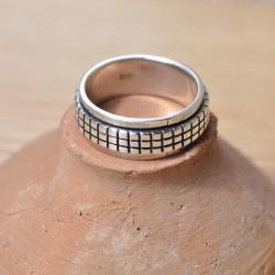 anneau qui tourne massif argent pour homme
