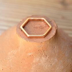 Bague hexagone Tailles argent doré à l'or rose
