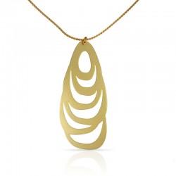 collier fin doré avec gros motif menhir
