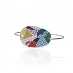 bracelet rigide argenté cubisme émaillé