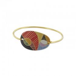 bracelet doré rigide coloré cubisme