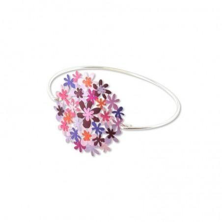 bracelet grosse fleur violette rose