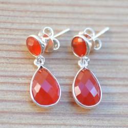 Boucles clous 2 pierres orange en cornaline facettées sur argent