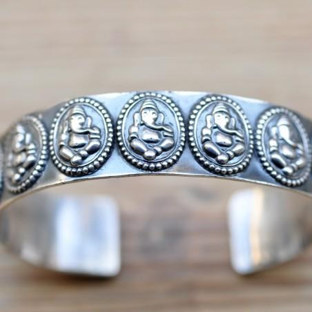 bracelet argent divinité elephants indienne ganesh dieu