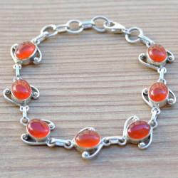 Bracelet ouvragé en argent et pierres ovales en cornaline