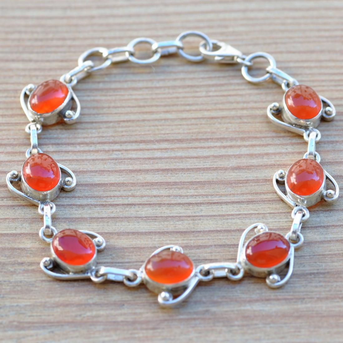 bracelet argent orange