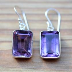 grosses boucles améthyste pierre violette facettée