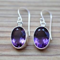 Boucles d'oreilles argent pierre en améthyste violette facettes