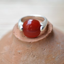 Bague carrée pierre agate orange