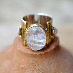Grosse bague anneau large pierre de lune laiton doré