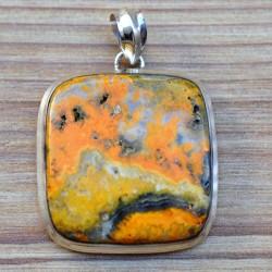 Gros pendentif pierre jaspe orange naturelle top qualité
